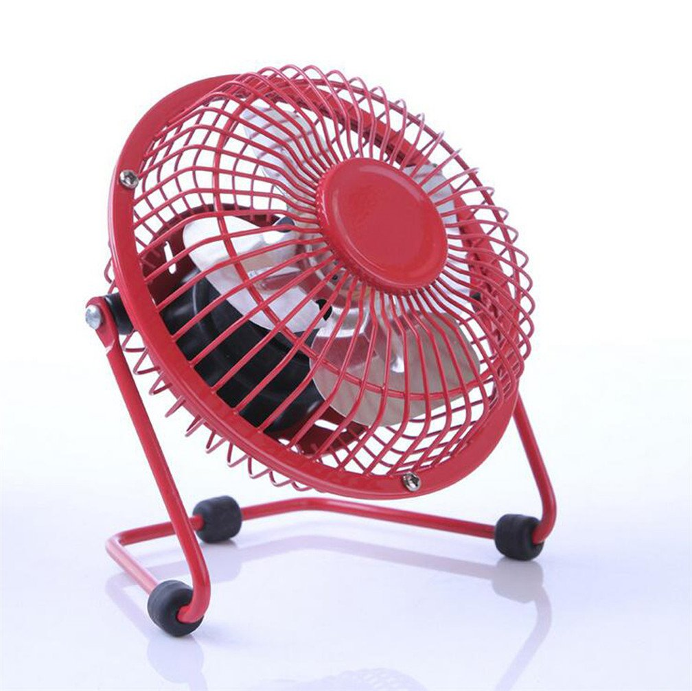 Mini USB Mobile Silent Metal Fan Perfect for Laptop Notebook, Desk Table Fan (red) panda