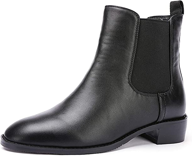 Odema Women Chelsea Boots Sahara PU Leather Low Heel Elastic Slip On Ankle Booties(Black Leather Lining)(Black Velvet Lining)
