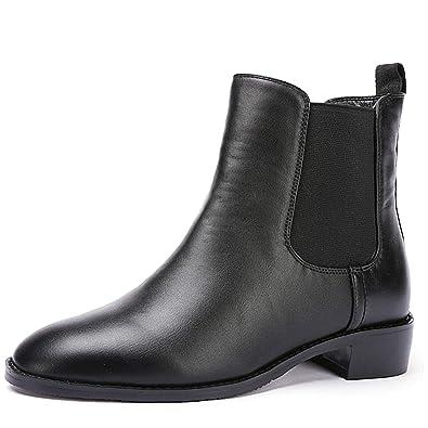 1045037d6d0 Odema Women Chelsea Boots Sahara PU Leather Low Heel Elastic Slip On Ankle  Booties(Black Leather Lining)/(Black Velvet Lining)