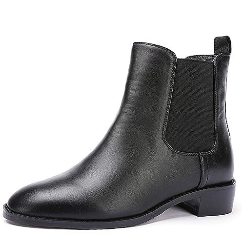 281f88b728552 Odema Women Chelsea Boots Sahara PU Leather Low Heel Elastic Slip On Ankle  Booties(Black Leather Lining)/(Black Velvet Lining)
