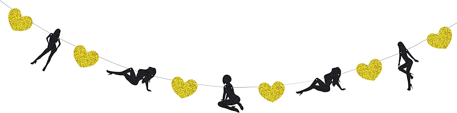 KAPOKKU Handmade Glitter Funny Banner Female Dancers Strippers Banner for The Bachelor Bachelorette Party Naughty Dirty Hen Party Engagement Bridal Shower Valentines Day Wle Dancers Strippers Banner