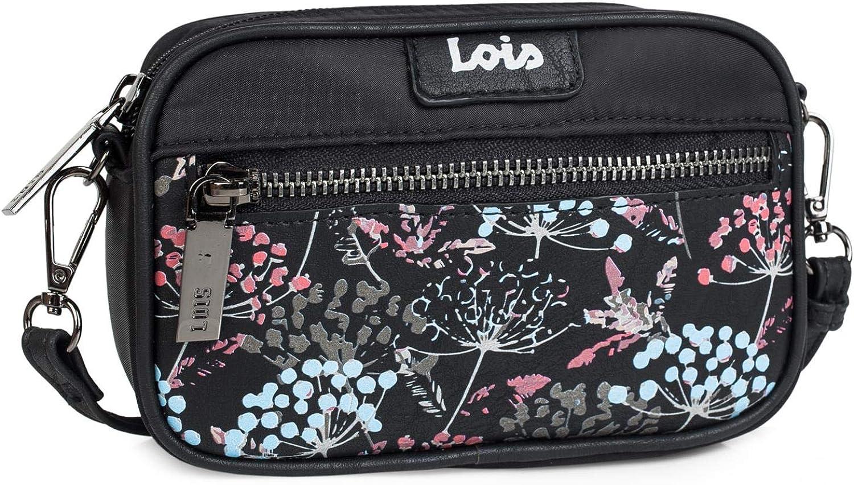 Lois - Bolso Bandolera pequeño de Mujer. Convertible en riñonera. Nylon y PU cómodo. Protección RFID 304073