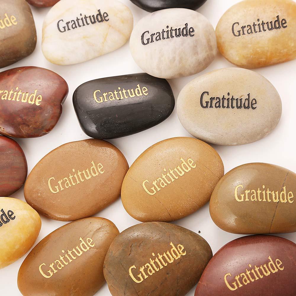 50PCS Gratitude RockImpact Gratitude Rocks Bulk Engraved Rocks Inspirational Stones Prayer Gifts Zen Chakra Worry Stones Motivation Encouragement Rocks Wholesale Gratitude Stones, 2''-3'' Each