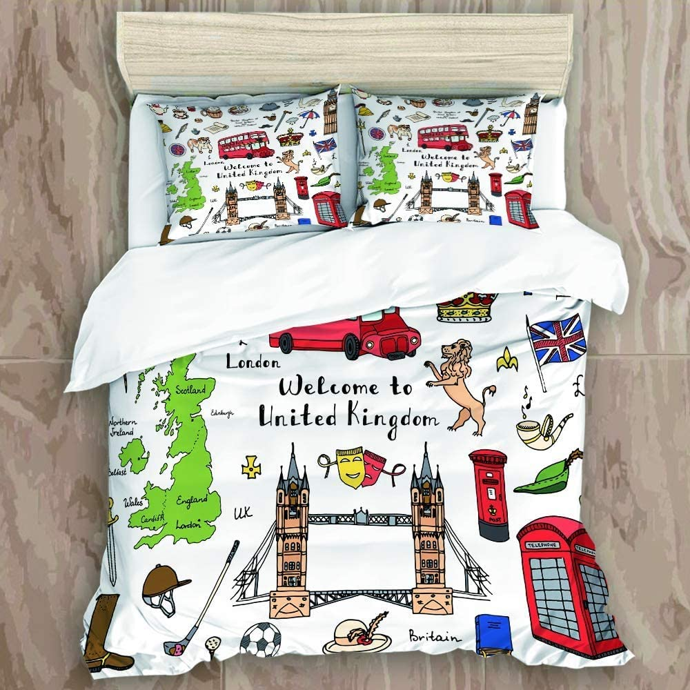 AXEDENRRT King Duvet Cover Luxury Microfiber Cute Kids Bedding Set Hand Drawn Doodle United Kingdom Set - Personality Design with 2 Pillowcases