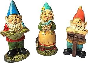 MUAMAX Fairy Garden Gnome Set of 3 Miniature Garden Gnomes Gnome Figurines for Fairy Garden Accessories Outdoor Garden Decor Gnomes Gifts