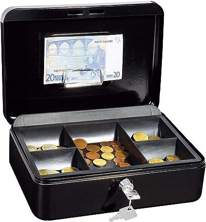 Wedo 321H - Caja metálica para dinero (2 llaves, soporte para monedas desprendible, acero soldado, tamaño 3), color negro: Amazon.es: Oficina y papelería