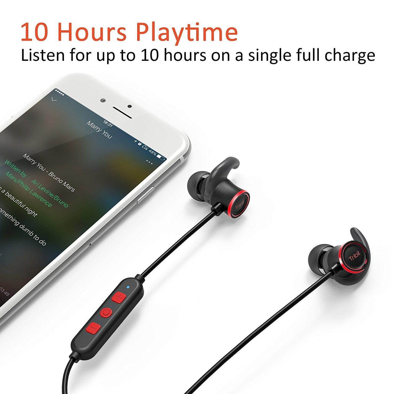 Tribit - Auriculares XFree Deportivos inalámbricos y con micrófono. con Bluetooth, 10 Horas de batería, Nano Revestimiento Impermeable, conexión magnética, ...