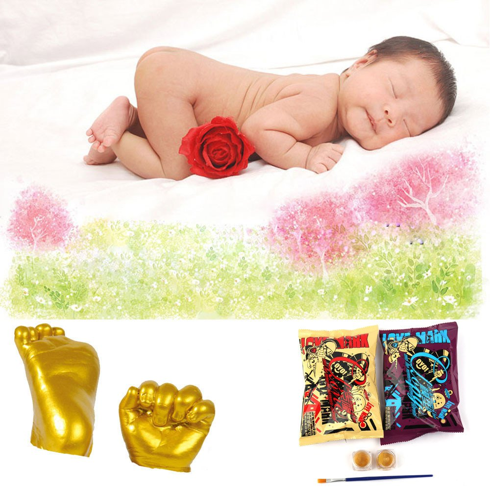 A LiPing 3D Plaster Handprint Footprint Baby Mould Hand/&Foot Casting Prints Kit Cast Gift and Footprint Makers Keepsake Box Decorations for Room Wall Nursery Decor