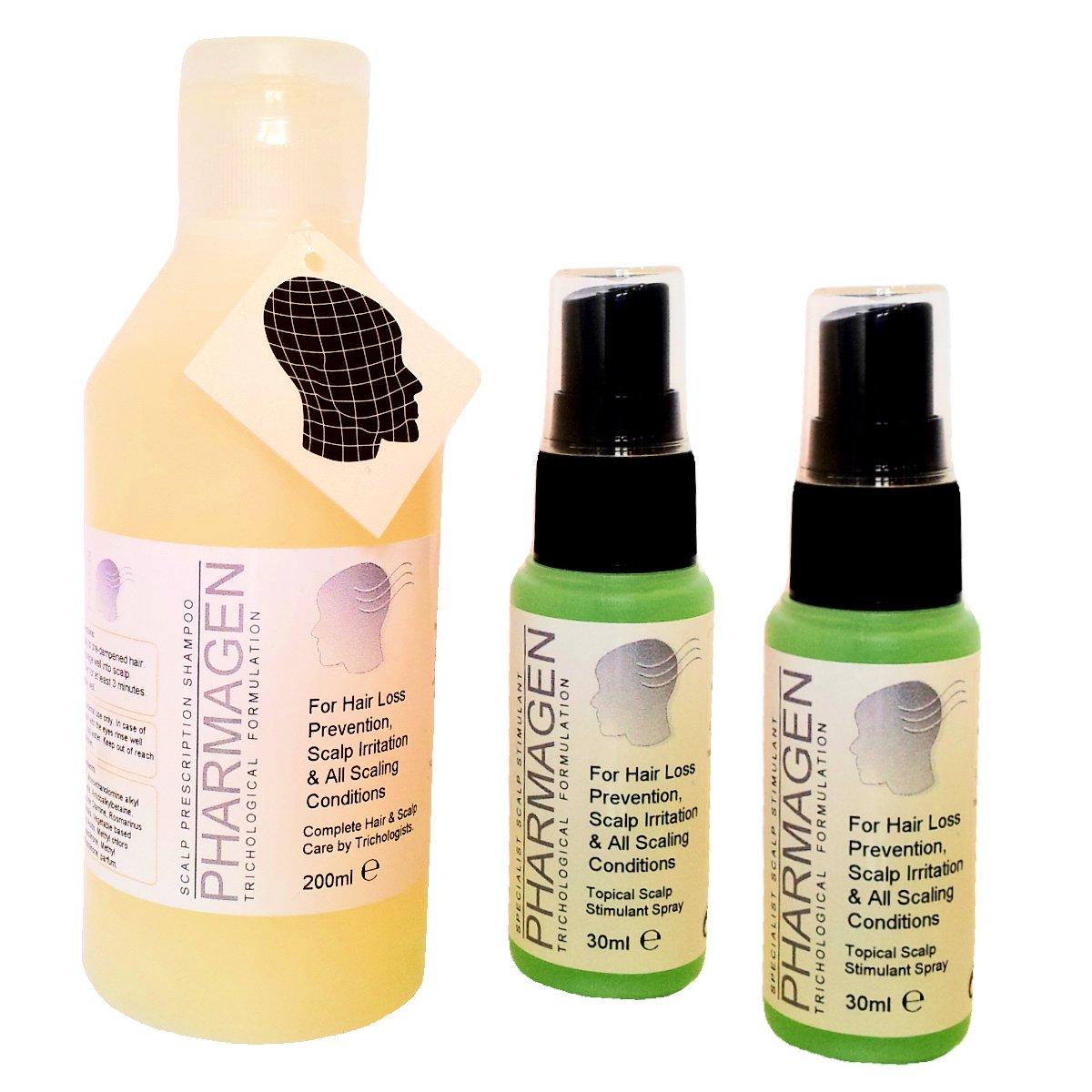 Perte de cheveux traitement (3pièces). pharmagen aide à réduire les pour homme et femme générique perte de cheveux. Specialist trichological Formule Stimulant du Cuir Chevelu. Stop irr