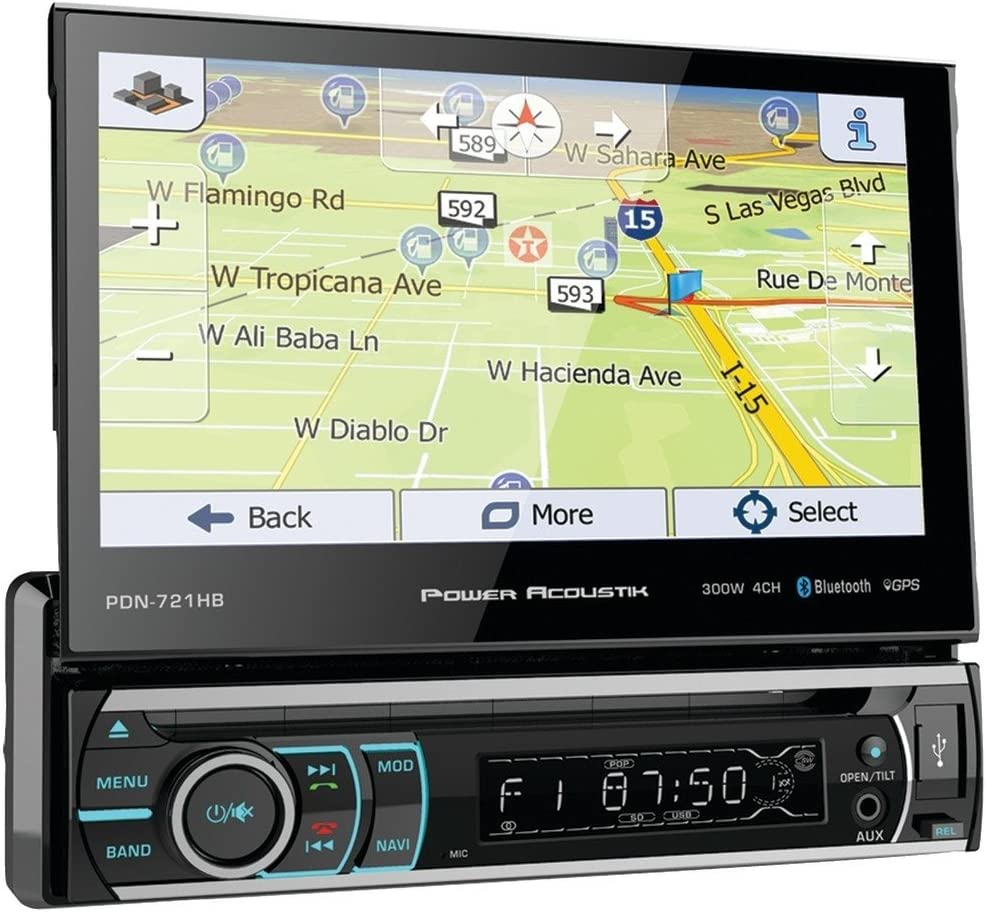 Power Acoustik PDN-721HB Single DIN Bluetooth In-Dash DVD//CD//AM//FM Car Stereo Receiver w// 7 Touchscreen and Navigation