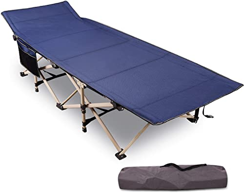 REDCAMP Folding Camping Cots for Adults Heavy Duty, 28 – 33 Extra Wide Sturdy Portable Sleeping Cot for Camp Office Use, Blue Gray Green Renewed