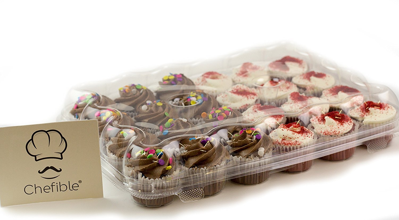 Chefible 24 Mini Cupcake Container, Cupcake Box, Mini Cupcakes (100)
