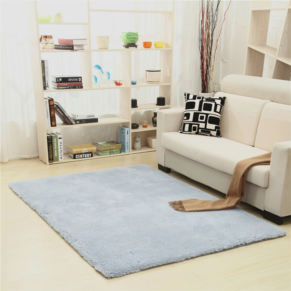 Rug WAN SAN QIAN- Children Bedroom Carpet Nordic Carpet Living Room Carpet Sofa Europe Princess Rectangle Blended Carpet Coarse Shag (Color : Blue, Size : 120x160cm)