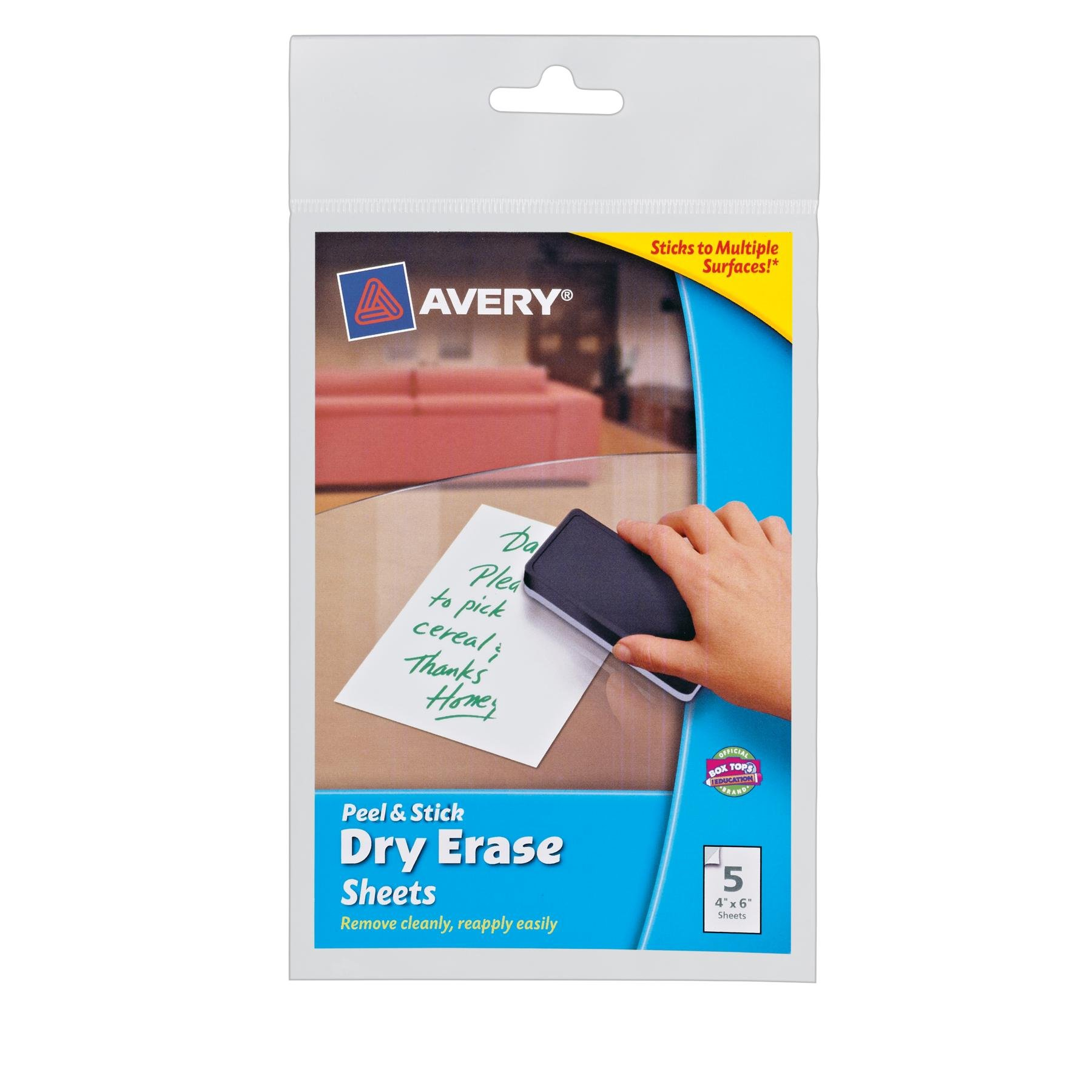 Avery Peel and Stick Dry Erase Sheets, 4 x 6 inches, White, 5 Sheets (24300) by AVERY