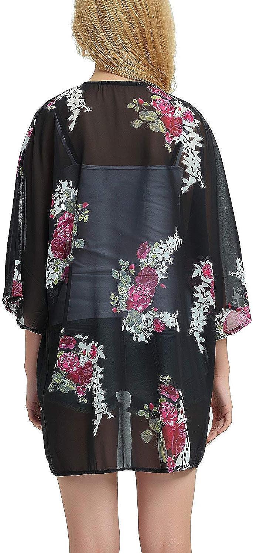 Basic Faith Womens S 3XL Floral Print Kimono Tops Cover Up Cardigans
