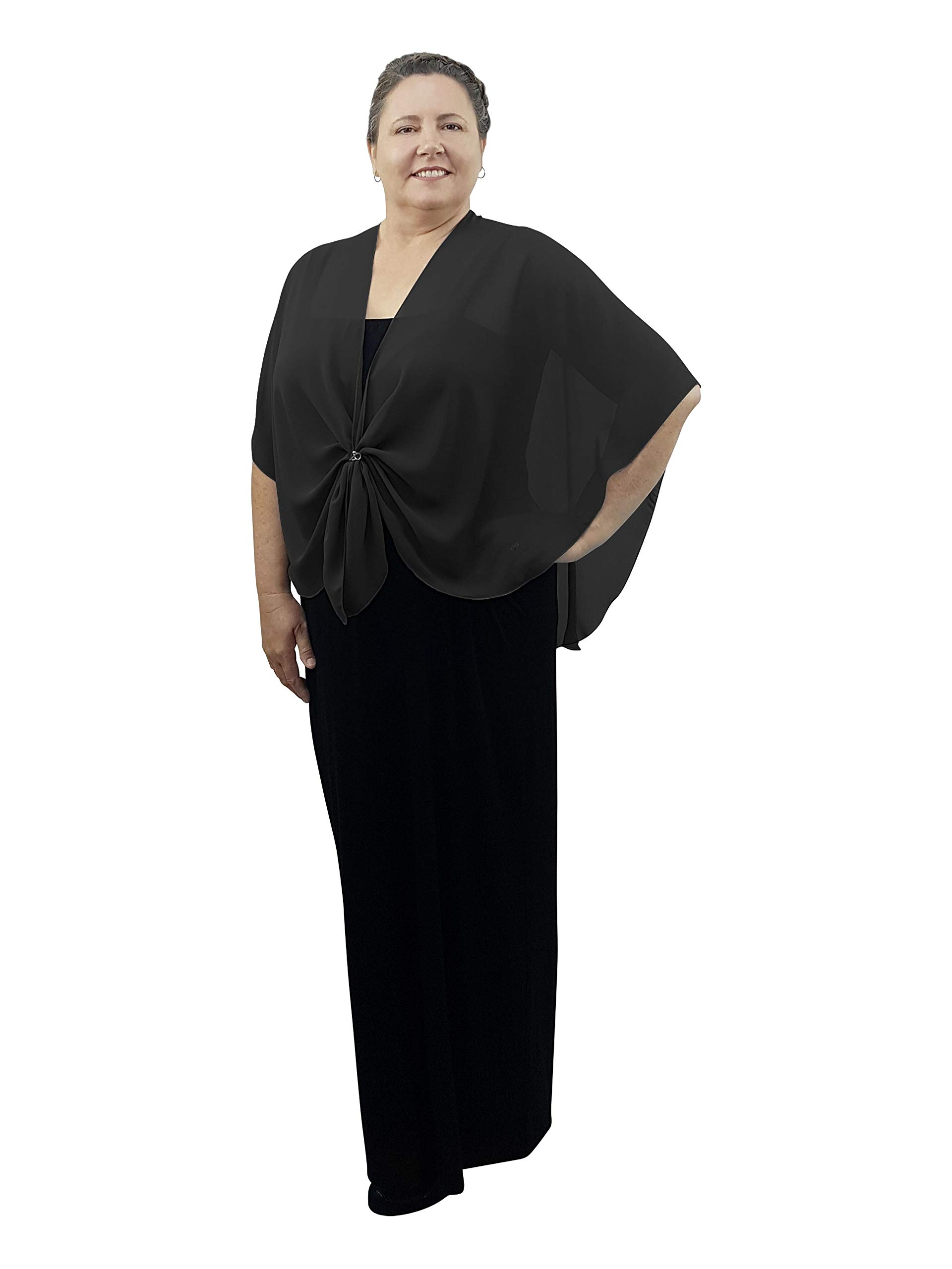eXcaped Women's Evening Shawl Wrap Sheer Chiffon Open Front Cape and Silver Scarf Ring (Black) by eXcaped (Image #3)