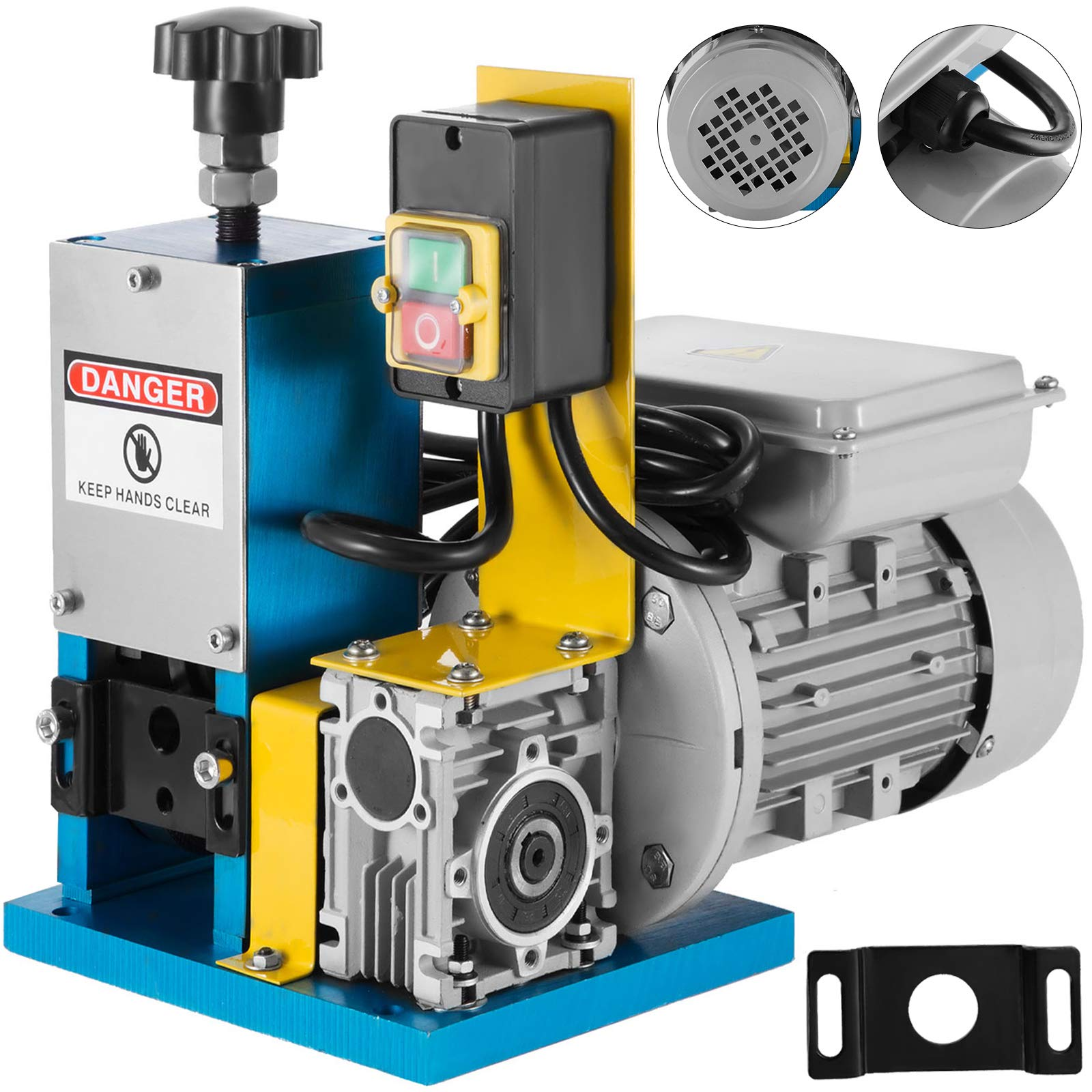 Happybuy Cable Wire Stripping Machine 1.5mm-25mm Wire Stripping Machine 1 Channels Wire Stripping Machine Tool Manual Hand Cranked Industrial Wire Stripping Recycle (Blue) by Happybuy