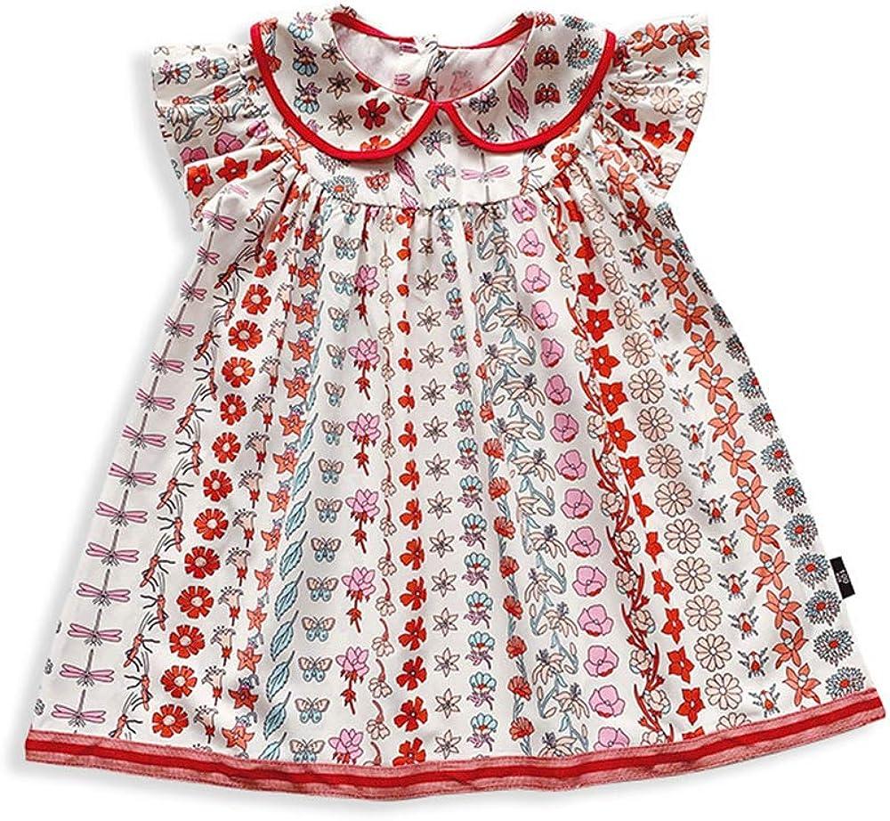 Chickwin Vestido para Niñas Verano 3-7 Años, Floral Conjunto Infantil Niña 100% Algodón Ropa Bebé Recién Nacido Infantil Casual Manga Corta Vestidos Bebe Niña Ceremonia Regalo