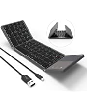 Folding Bluetooth Keyboard, Jelly Comb Rechargeable USB Wired & Bluetooth Keyboard Dual Mode UK Layout with Touchpad (Dark Gray) - Upgraded Version