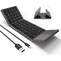 Folding Bluetooth Keyboard, Jelly Comb B-003B Rechargeable USB Wired & Bluetooth Keyboard Dual Mode UK Layout with Touchpad (Dark Gray) - Upgraded Version