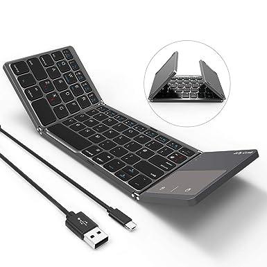 4cf7e8b5ccc Folding Bluetooth Keyboard, Jelly Comb B-003B Rechargeable USB Wired & Bluetooth  Keyboard Dual