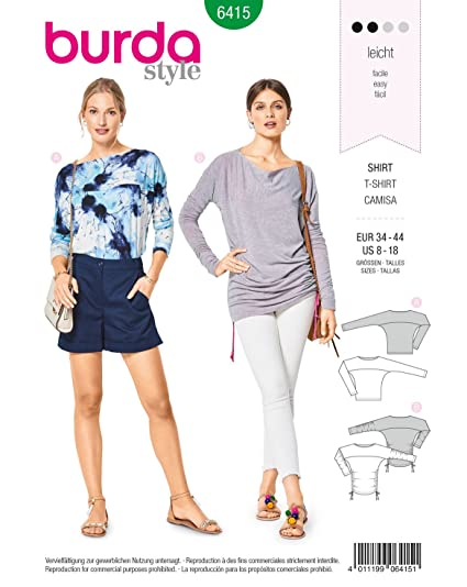 Amazon.com: Burda Style Sewing Pattern B6415 - Misses\' Casual Tops ...