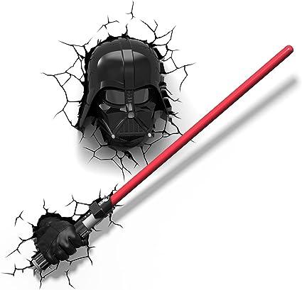 Star Wars Darth Vader Lightsaber Darth Vader Mask 3d Wall Led Light Bundle Amazon Co Uk Kitchen Home