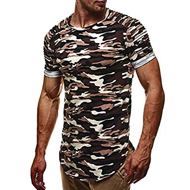 3b7f4ff6f12 Fashion Personality Fashion Personality Camouflage Men s Casual Slim Sports  Short-Sleeved Shirt Top Blouse Plus