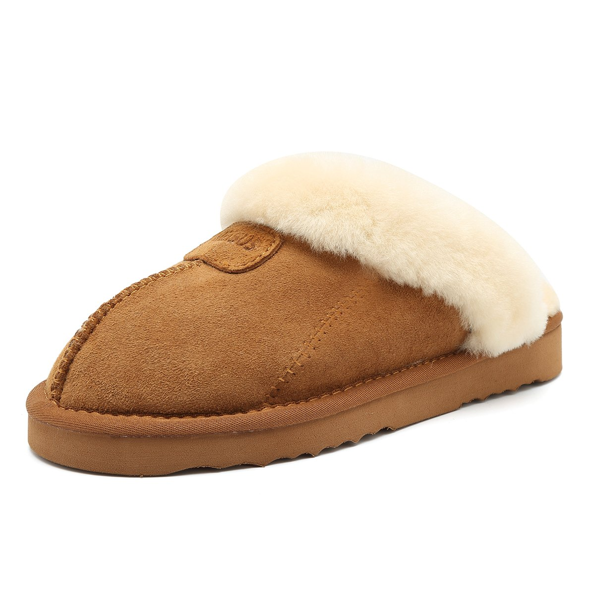 MEISUS Slipper for Women with The Integration of Wool and Sheepskin Suede Fluffy Slipper with EVA Skid Resistance,MT03-Chestnut-38