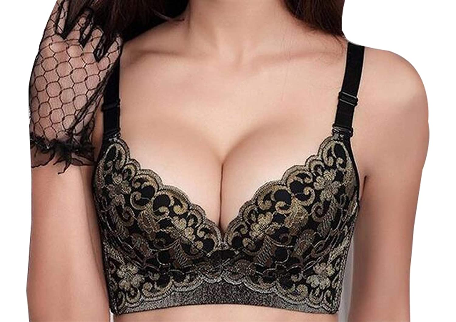 70b951c65730f1 ouxiuli Women Fashion Seamless Push up Bra Wireless Padded Floral T-Shirt  Bralette at Amazon Women s Clothing store