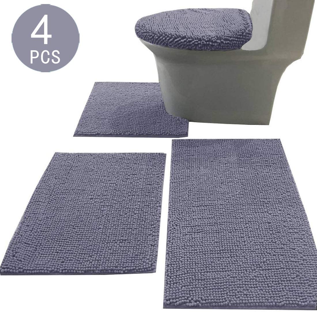 Amazon Com Madeals Chenille Bathroom Rug Set 4 Piece With Toilet Lid Cover And Rug Set Combo Soft Shaggy Bath Rug Set 3 Pieceand U Shaped Toilet Floor Rug Grey Home Kitchen