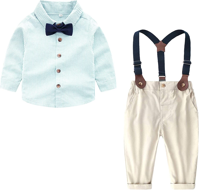 Welity Baby Boys Tuxedo Shirt and Suspender Pants Set