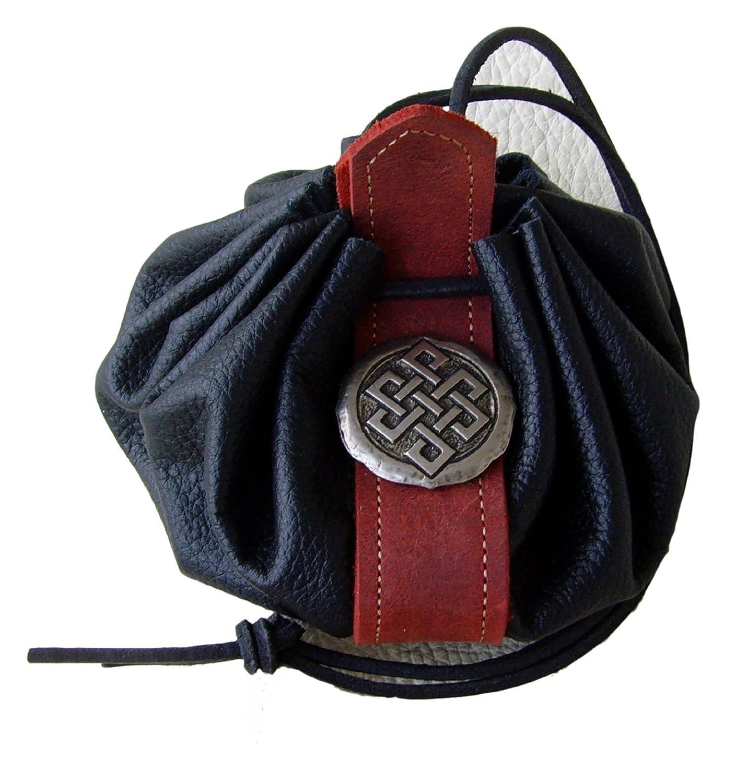 Lederbeutel Dukatenbeutel Geldkatze Farbe schwarz rot Kelten Knoten 1096-002