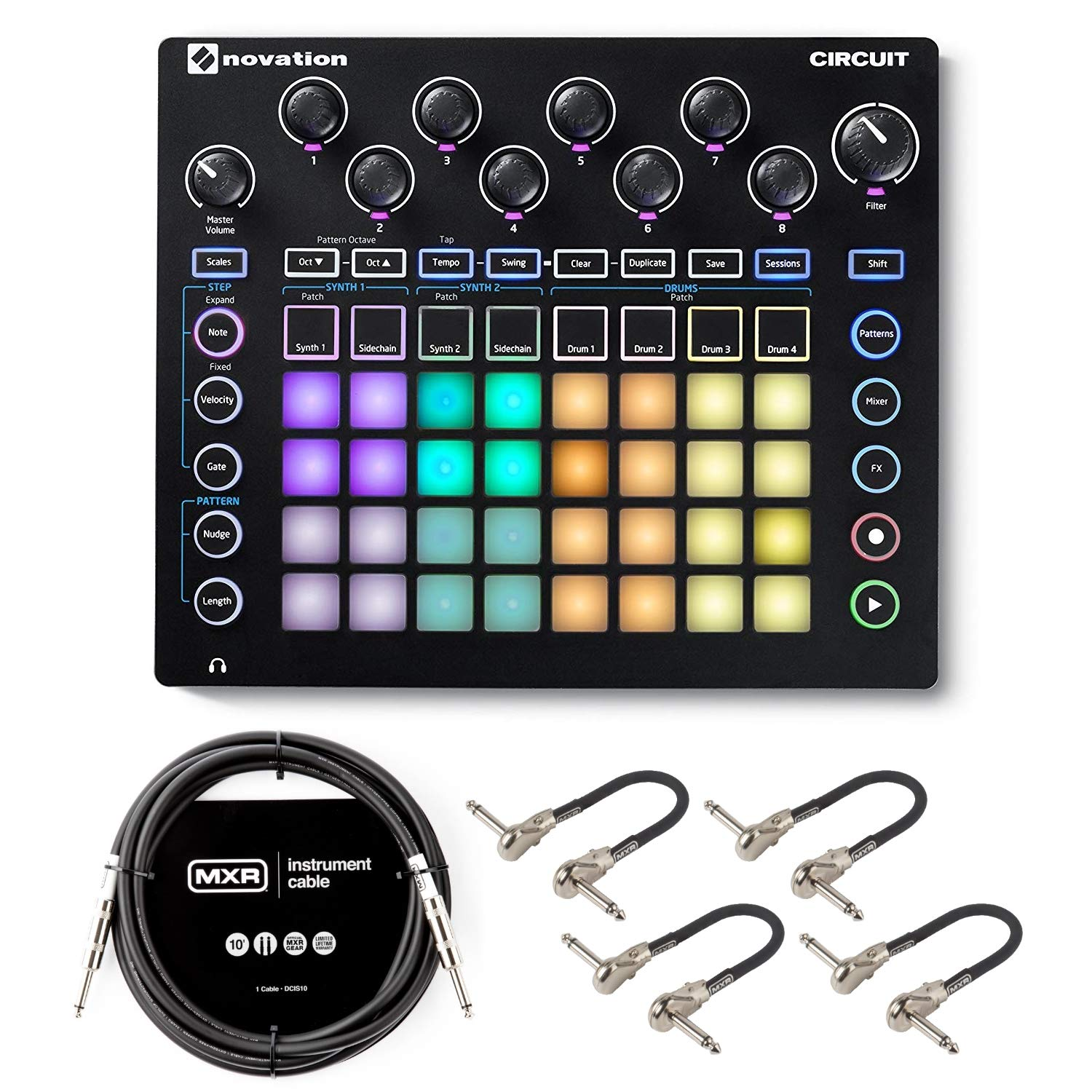 Novation Circuit Groovebox with Sample Import Bundle with 4 MXR Patch Cables and 10ft MXR Instrument Cable by Briskdrop (Image #1)