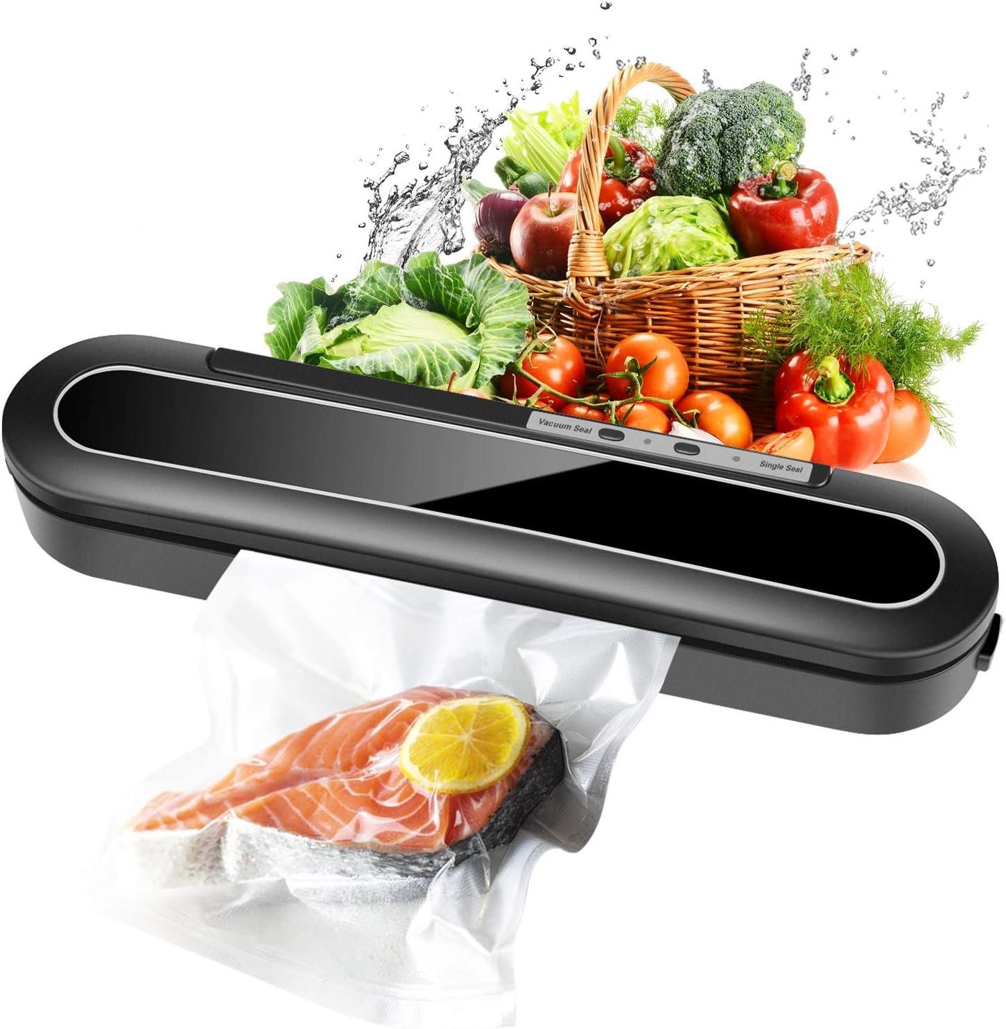Vacuum Sealer Machine, Automatic Food Sealer for Food Savers w/Starter Kit, 10 Pcs Vacuum Bags, Automatic Vacuum Air Sealing System Led Indicator Lights, Dry & Moist Food Modes