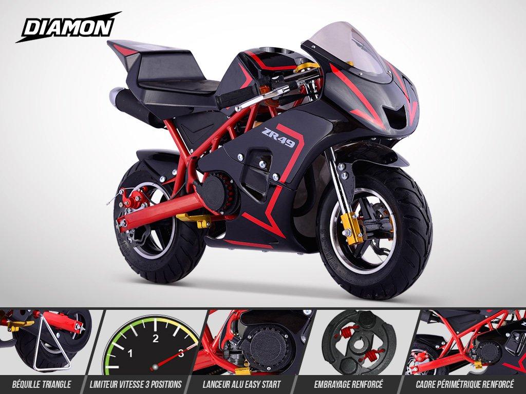Pocket Course ZR 49 DIAMON Rouge Mini Moto Enfant 50cc