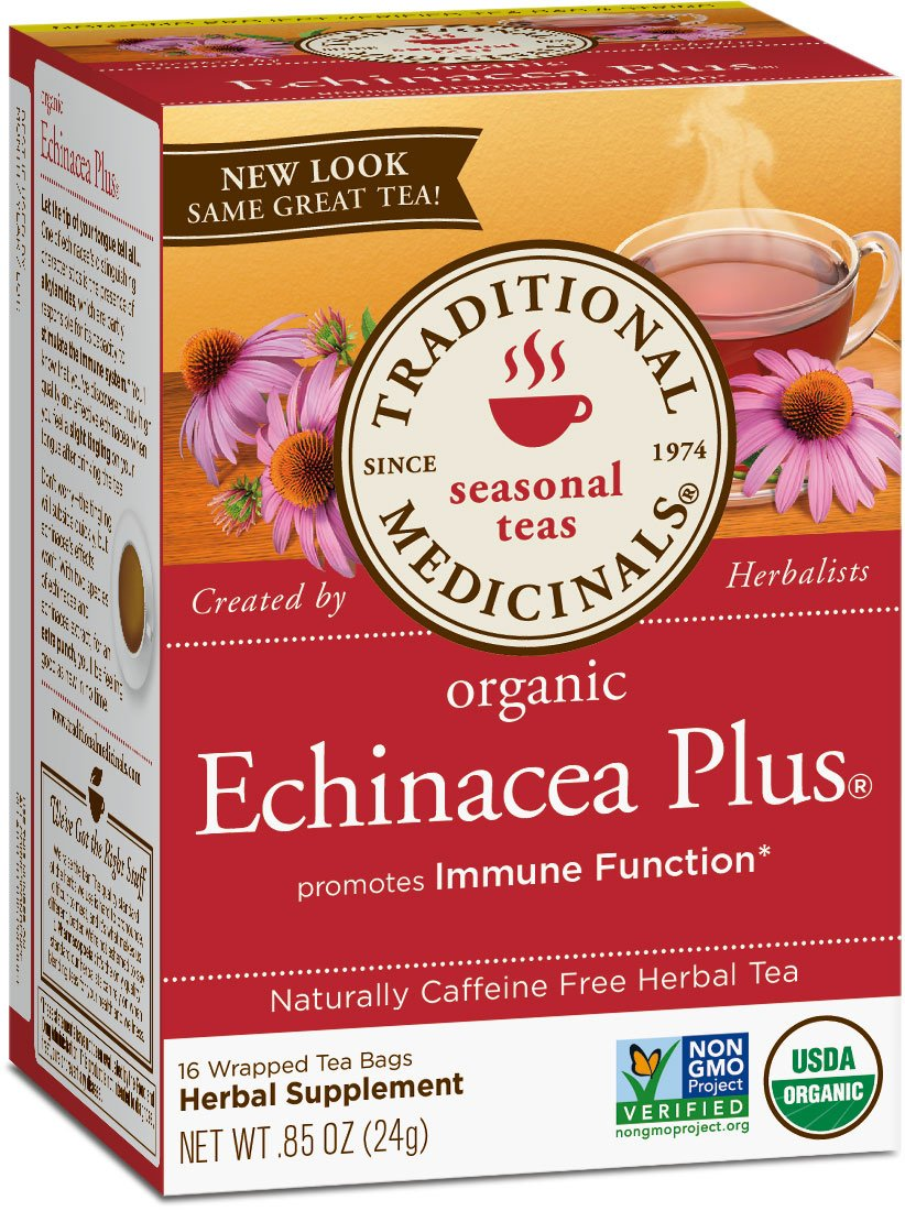 Traditional Medicinals Organic Echinacea Plus Tea, 16 Tea Bags (Pack of 6)