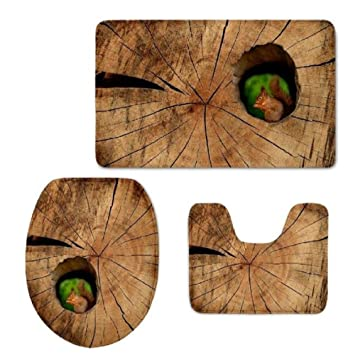Amazon.com: Homespun Set Of 3 Piece Baby Squirrel In Tree Brown ...
