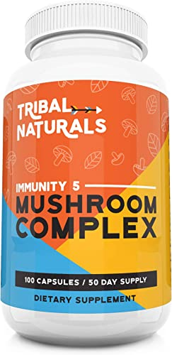 Organic Mushroom Supplements 100ct Immunity 5 Mushrooms Wellness Formula – Reishi, Shiitake, Turkey Tail, Maitake Chaga Mushroom Extract 1000mg cap Mushroom Immune Defense Energy Pills