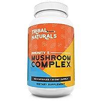 Organic Mushroom Supplements (100ct) Immunity 5 Mushrooms Wellness Formula - Reishi...