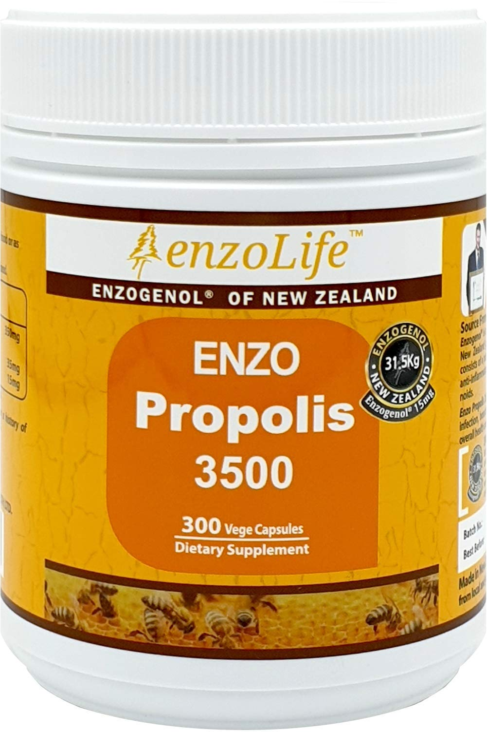 New-Zealand Bee Propolis 3500 300 Capsules Support a Healthy Immune System (1 Bottle) by EnzoLife (Image #1)