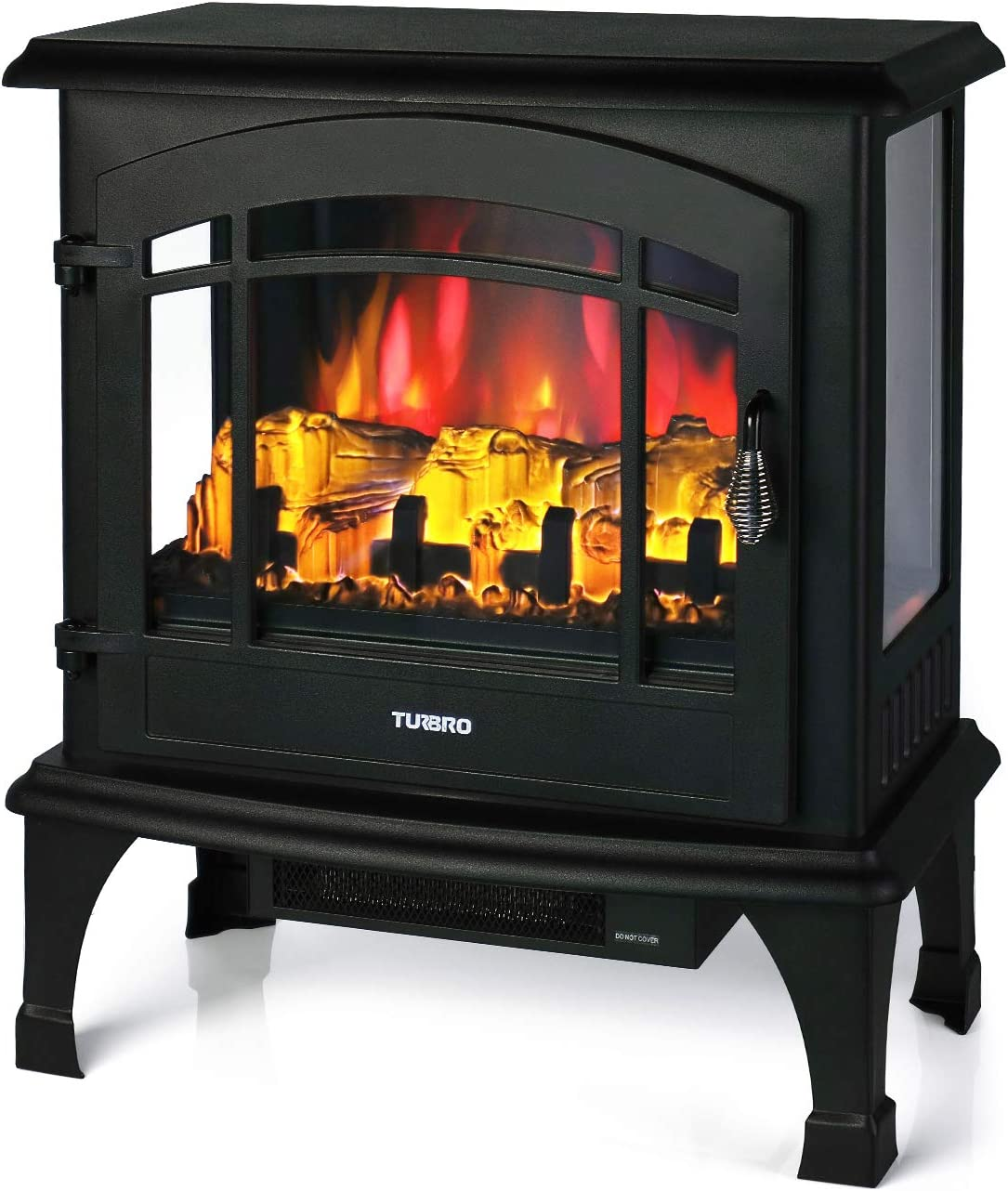 Timer 23 1400W Black TURBRO Suburbs TS23 Electric Fireplace Heater Remote Control Freestanding Fireplace Stove with Realistic Flame Brightness Adjustable Effect