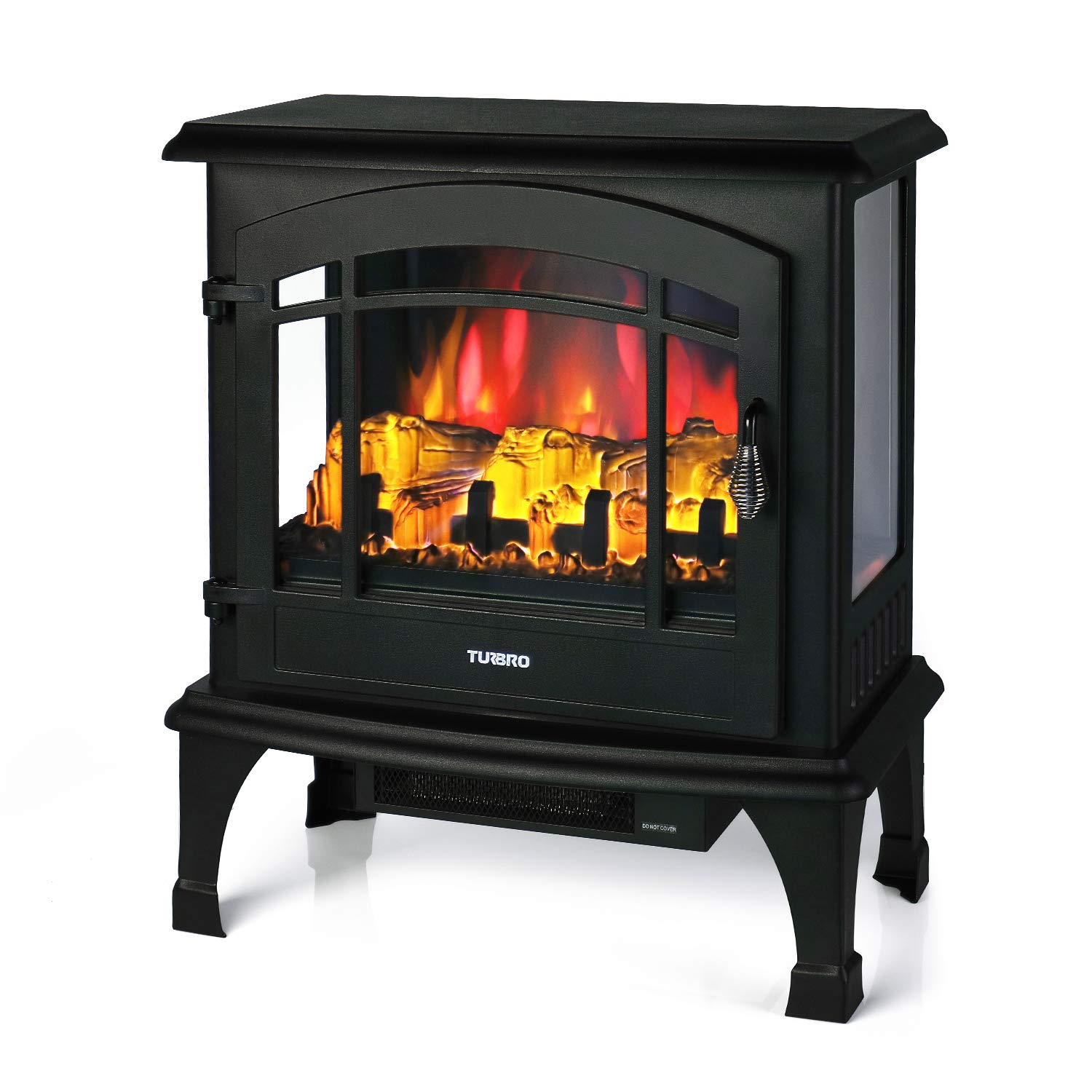 TURBRO Suburbs TS23 Electric Fireplace Heater, Freestanding Fireplace Stove with Realistic Flame – Brightness Adjustable Effect – Remote Control – Timer – 23 1400W Black