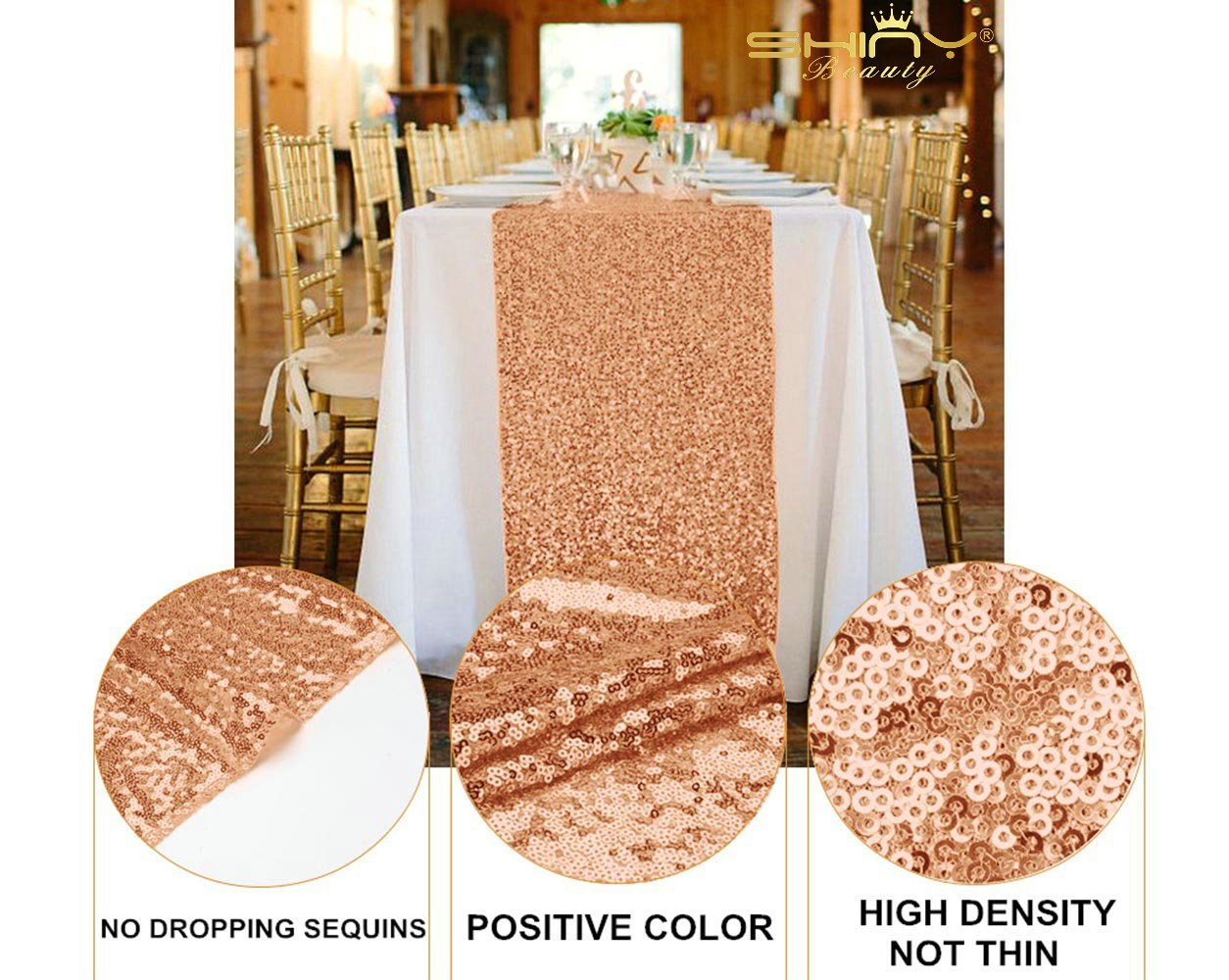 Rose Gold Bridal Shower Decorations 5Pcs Rose Gold 12''x72'' Sequin Table Runners Rose Gold Party Supplies ~723S by ShiDianYi (Image #5)