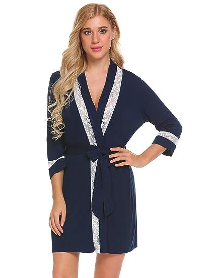 03847161ff Ekouaer Women s Kimono Robe 3 4 Sleeves Modal Lace Bathrobe S-XXL at ...