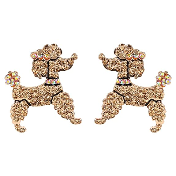 50s Jewelry: Earrings, Necklace, Brooch, Bracelet EVER FAITH Dog Austrian Crystal Toy Poodle Stud Earrings Topaz Color $15.99 AT vintagedancer.com