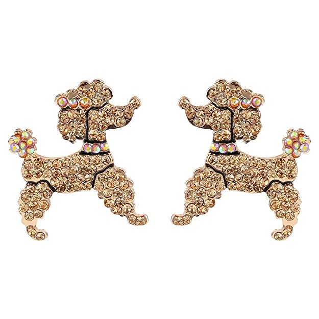 1940s Sweater Styles EVER FAITH Dog Austrian Crystal Toy Poodle Stud Earrings Topaz Color $13.79 AT vintagedancer.com