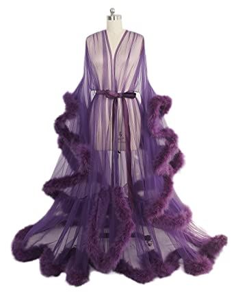 e2a9894d2a Sexy Feather Bridal Robe Tulle Illusion Long Wedding Scarf New Custom Made  … (Dark Purple)