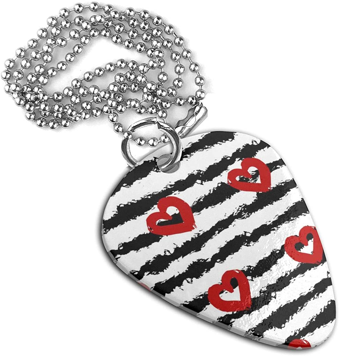 Stripes Red Hearts Guitar Pick Necklace Pendant Pet Card Keychain