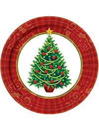amscan Twinkling Christmas Tree Paper Plates Value Pack, 50 Ct. | Party Tableware